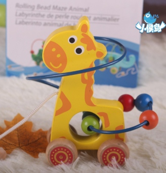 Baby wooden baby elephant trailer toys around the bead