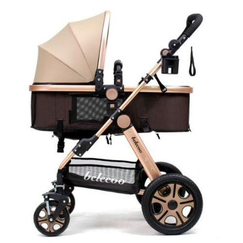Belecoo Gold Frame German Design Stroller (Khaki Brown) Singapore