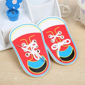 Children Wooden Lacing Shoes Toddler Kids Teaching Tie Shoelaces Toys - intl - 3