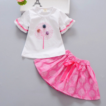 Children's clothing girls summer suit 2017 New style children's Korean-style skirt summer clothes tide baby short-sleeved two-piece Sets