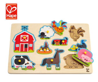 HAPE children's animal puzzle baby early childhood hand grasping board puzzle