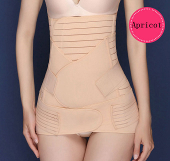 Haotom Premium 3pcs Set Haotom Body Shaper Waist Trimmer Postpartum Support Belt Bengkung Modern Corset Girdle Belts(Apricot)