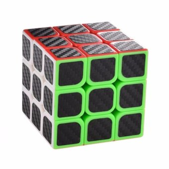 3x3x3 Carbon Fiber Sticker Speed Cube Smooth Magic Puzzle Cube - intl