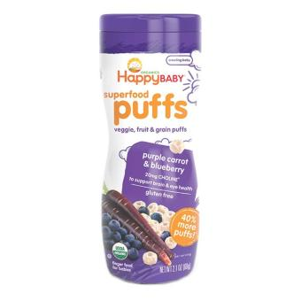 Harga Happy Family Happy Baby Superfood Puffs - Purple Carrot and Blueberry 60 g. Gluten-Free