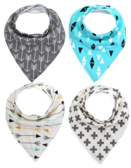 Harga Baby Bandana Drool Bibs for Drooling and Teething Unisex 4 Pack 100% Organic Cotton,Hypoallergenic - intl