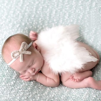 Harga Newborn Feather Angel Wing with Crystal Headband Photography Prop (White)