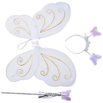 Harga 3Pc Set Girls Fairy Costume Butterfly Party Wings Wand Princess Headband Beauty White