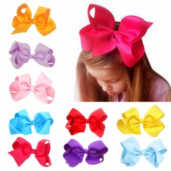 Harga 10PCS Baby Big Hair Bows Boutique Girls Alligator Clip Grosgrain Ribbon Lovely - intl
