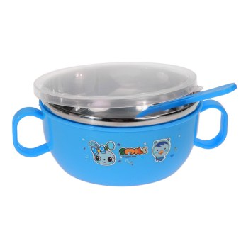 Harga Children Soup bowl Stainless Steel Nonslip Blue