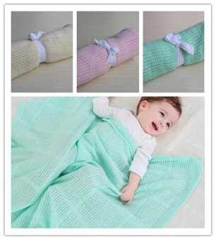 Harga Summer Newborn Baby Blankets Super Soft Cotton Crochet Baby Blanket Baby Receiving Blankets Candy Color Infant Baby Swaddle BL07 - intl