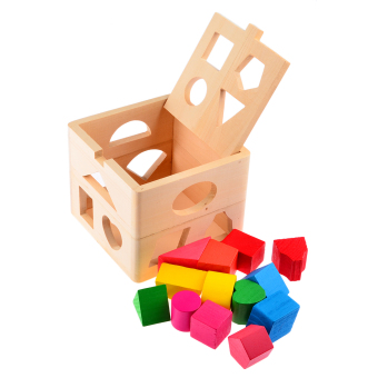 Harga 360WISH 13 Holes Intelligence Box for Shape Sorter Cognitive and Matching Wooden Building Blocks Baby Kids Children Eductional Toys (EXPORT)