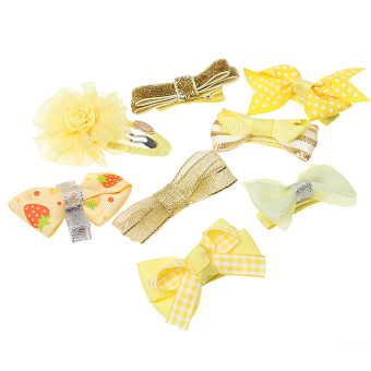 Harga BolehDeals 8x Cute Grosgrain Ribbon Baby Girl Hair Clip Hairpin Dot Bow Boutique Yellow