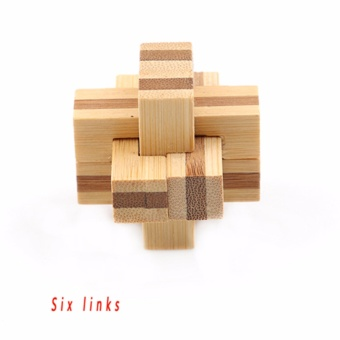Harga Hanyu Six links 3D Eco-friendly Wooden Magic Cubes Interlocking Burr Puzzle IQ Brain Teaser Intelligent Toy Funny & Educational - intl