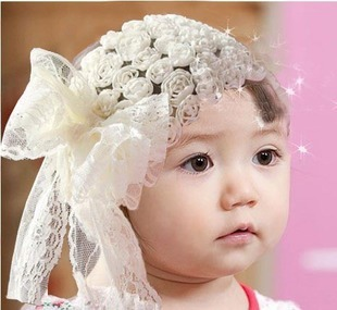 Harga Kiss baby Korean-style lace flowers Butterfly knot baby hair band