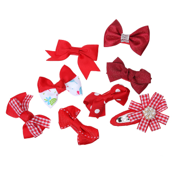 Harga BolehDeals 8x Cute Grosgrain Ribbon Baby Girls Hair Clips Hairpin Dot Bow Boutique Red