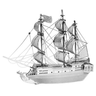 HengSong Pirate Ship 3D Model Micro Sculpture Puzzle DIY Building Model Adult Children Toys Silver