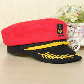 Yacht Peaked Skipper Sailors Navy Captain Boating Boat Hat Cap Costume Unisex red(Export)