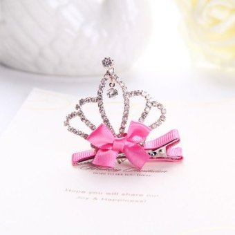Harga Korean children hair jewelry shiny rhinestone crown princess stereo clip hairpin small side clip baby girls headdress