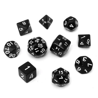 Harga 10pc/Set D4-D30 Multi-sided Dices TRPG Games Gaming Dices Acrylic Black - Intl