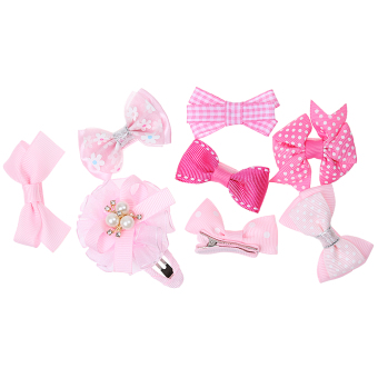 Harga BolehDeals 8x Cute Grosgrain Ribbon Baby Girls Hair Clips Hairpin Dot Bow Boutique Pink