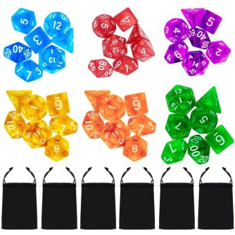 Harga 6 Set 42 PCS Acrylic Polyhedral Number Game Dice 7 Style D4 D6 D8 2D10 D12 D20 with Storage Pouches for Dungeons And Dragons Party Math Game Playing - intl