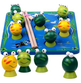 Harga Montessori early learning WOODEN large magnet 3d three-dimensional magnetic fishing fishing frog child puzzle fun toys