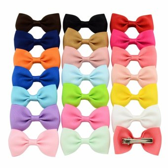 Harga 20Pcs Baby Girl Kids Hair Bow Boutique Alligator Clip Grosgrain Ribbon Bowknot - intl