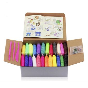 Harga 24pcs/set DIY Polymer Foam Modelling Clay Set Snow Pearl Mud Playdough Toys - intl