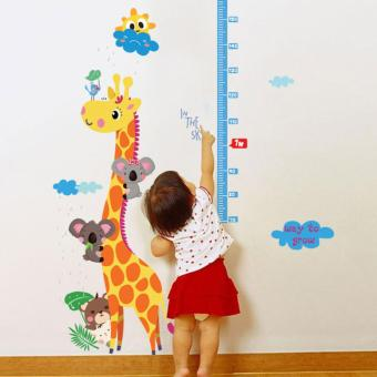 Harga Kids Height Chart Measure Lovely Giraffe Stickers (Blue) - intl
