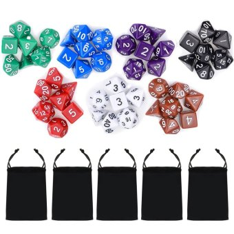 Harga 7 Set 49 PCS Acrylic Polyhedral Number Game Dice 7 Style D4 D6 D8 2D10 D12 D20 with Storage Pouches for Dungeons And Dragons Party Math Game Playing - intl