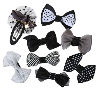 Harga BolehDeals 8x Cute Grosgrain Ribbon Baby Girls Hair Clip Hairpin Dot Bow Boutique Black