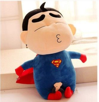 Harga Shinchan Superman bat Spider Man American captain Long Mao plush toys doll children's birthday doll