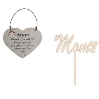 Harga MagiDeal 2pcs /Set MOM Hearts Cake Toppers Sticks+Mum Wooden Plaque Hanging Signs - intl