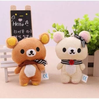 Harga 1Pcs Kawaii 11CM Lover Rilakkuma Bear Plush Stuffed TOY Soft Figure DOLL Key Chain Design BAG Pendant Charm TOY - Intl