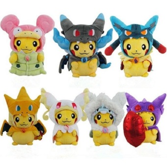 Harga 2pcs/Kawaii Pikachu Plush Toys 23cm Pikachu Cosplay Mega Charizard Psyduck Lucario Eevee Plush Doll Toy Hot Sale