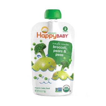 Harga Happy Family Happy Baby Stage 2 Simple Combos - Broccoli, Pears and Peas 99 g.