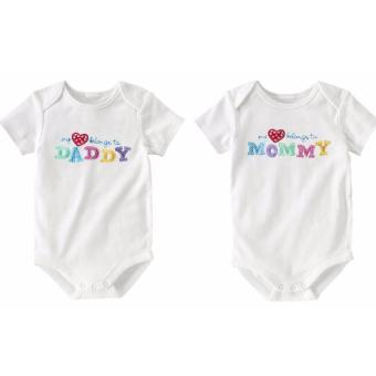 Harga Baby One-Pieces Short Sleeve 100% Cotton Soft Spring Summer Wear infant Bodysuit (2pcs per Set) - intl