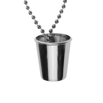 Harga MagiDeal Ball Chain Shot Glasses Cup On Necklace Fancy Dress Hen Night Party Silver - intl