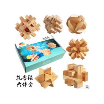 Harga 6PCS Wooden Kong Ming Lock For Children Adults Puzzle Brain Teasers Toys - intl