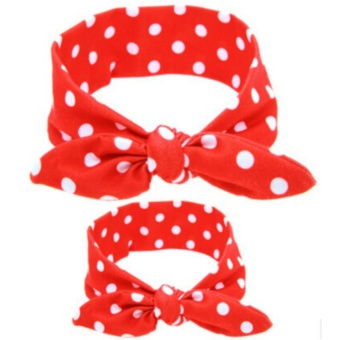 Harga Pretty 2pc/Set Mom-Baby Cotton Headbands Elastic Rabbit Ear Hair Bands Accessories Red And White - intl