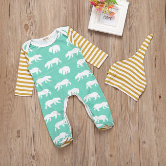 Newborn Kids Baby Boy Long Sleeve Romper Bodysuit Jumpsuit Hat Outfits - intl