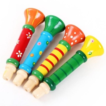 Harga Multi-Color Baby kids Wooden Horn Hooter Trumpet Instruments Music Toys - intl