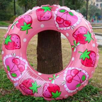 Harga Children Kids Double Layers Cute Strawberry Pool Lounge Float Inflatable Swim Ring Tube - intl