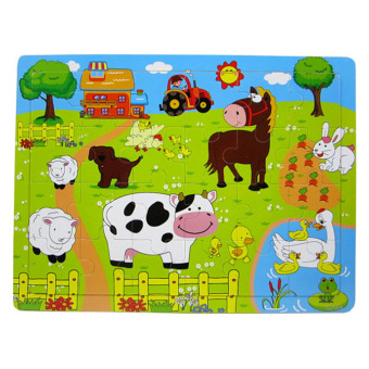 Harga 360WISH 24 Pieces Wooden Barnyard Animal Jigsaw Puzzle for Kids (EXPORT)