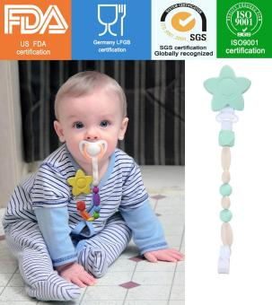Harga quzhuo Lovely Petal Style Baby Pacifier Holder Silicone Pacifier Clip, Light Mint Green (#3)