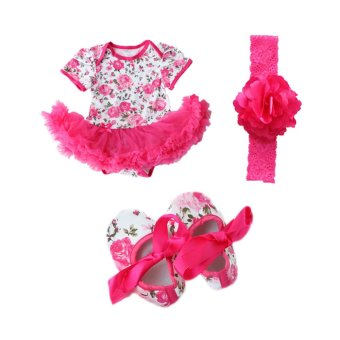 Cocotina Newborn Baby Girls Floral Romper Dress Jumpsuit Outfits Headband Shoes (Rose Red)