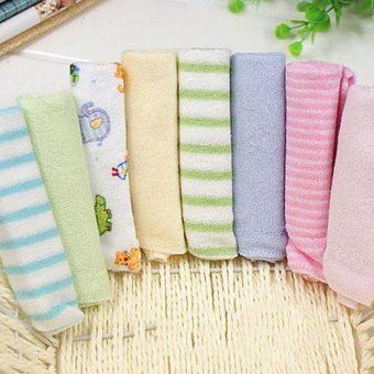 Harga Cyber 8 Pieces Soft For Bathing Feeding Baby Bath Towels Washcloth (Color Sent by random Selection )