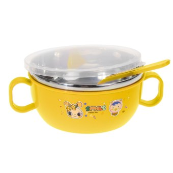 Harga Children Soup bowl Stainless Steel Nonslip Yellow