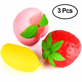 Harga 3 Pcs Squishy slow rising jumbo strawberry peach mango fruit kawaii stress relief toys party supplies - intl