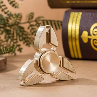 Metal Fidget Spinner Latest Model Of The Three Finger EDC Hand Spinner Tip Of The Rotation Pure Copper Production Of toy Crafts(Gold) - intl